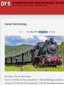 Mai-Ausfahrt vom Samstag  11. Mai bis 12. Mai 2019 Fränkische Schweiz @ Behringersmühle / Fränkische Schweiz