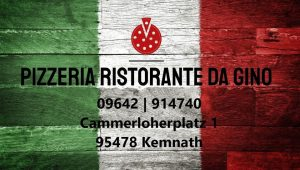 """STAMMTISCH   SAMSTAG  9.Oktober  19.15 Uhr    Pizzeria """"da Gino"""" Kemnath"""